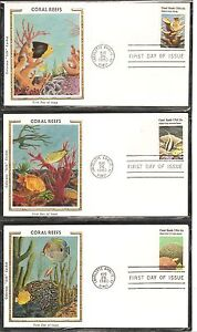 US-SC-1827-1830-1830a-Coral-Reefs-FDC-5-Covers-Set-Colorano-Silk-Cachet