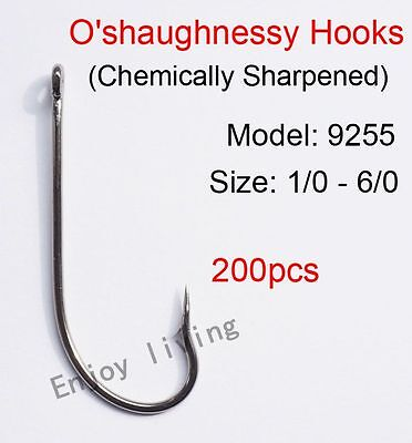 200pcs Sharpened Coated O/'shaughnessy Fishing Hooks Long Shank Hook 9255