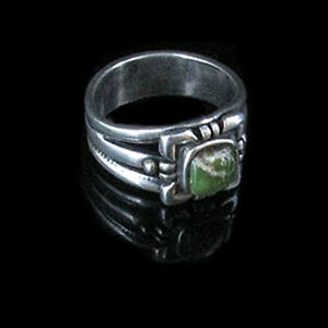 925-Sterling-Silver-Natural-Green-Turquoise-Ring-size-7-5