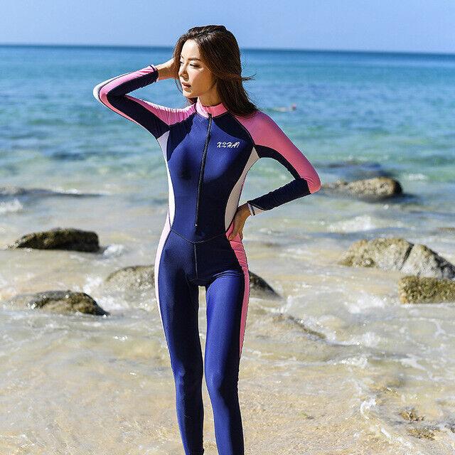 Women One Piece Swimsuit Full Body Rash Guard Long Sleeve Surfing Scuba Swimsuit