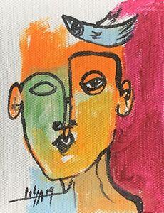 PAINTING-ORIGINAL-ACRYLIC-ON-CANVAS-PANEL-CUBAN-ART-4-X5-By-LISA