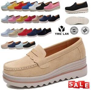Women-Slip-on-Hidden-Wedge-Heel-Suede-Shoes-Platform-Vogue-Sneakers-Loafers-Size