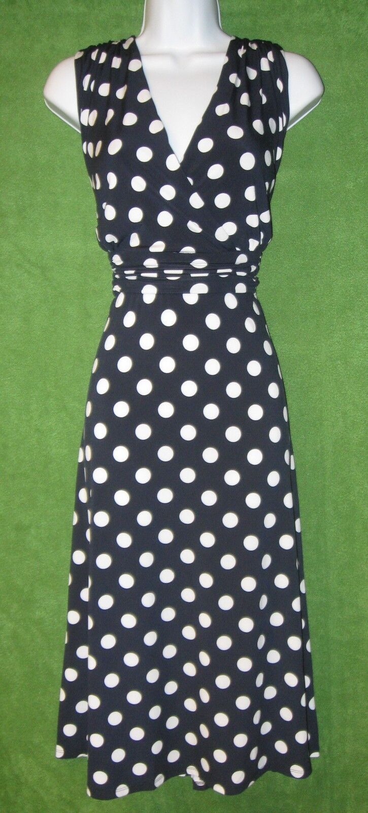 Ronnie Nicole Navy White Big Polka Dot Jersey Empire Dress 24W PLUS  MISC