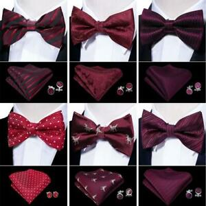 a5249763583ee UK Men's Bow Tie Pretie Wine Red Burgundy Paisley Solid Striped ...
