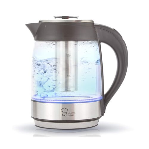 Electric Tea Kettle Cordless Glass Pot 1.8 Liter Stainless Steel Hot Water ...