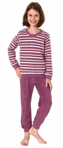 Toller Mädchen Frottee Pyjama Schlafanzug langarm mit Bündchen 291 401 13 572