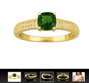 JTV-85ct-Cushion-Chrome-Diopside-11ctw-White-Topaz-18k-Gold-over-Silver-Ring-9