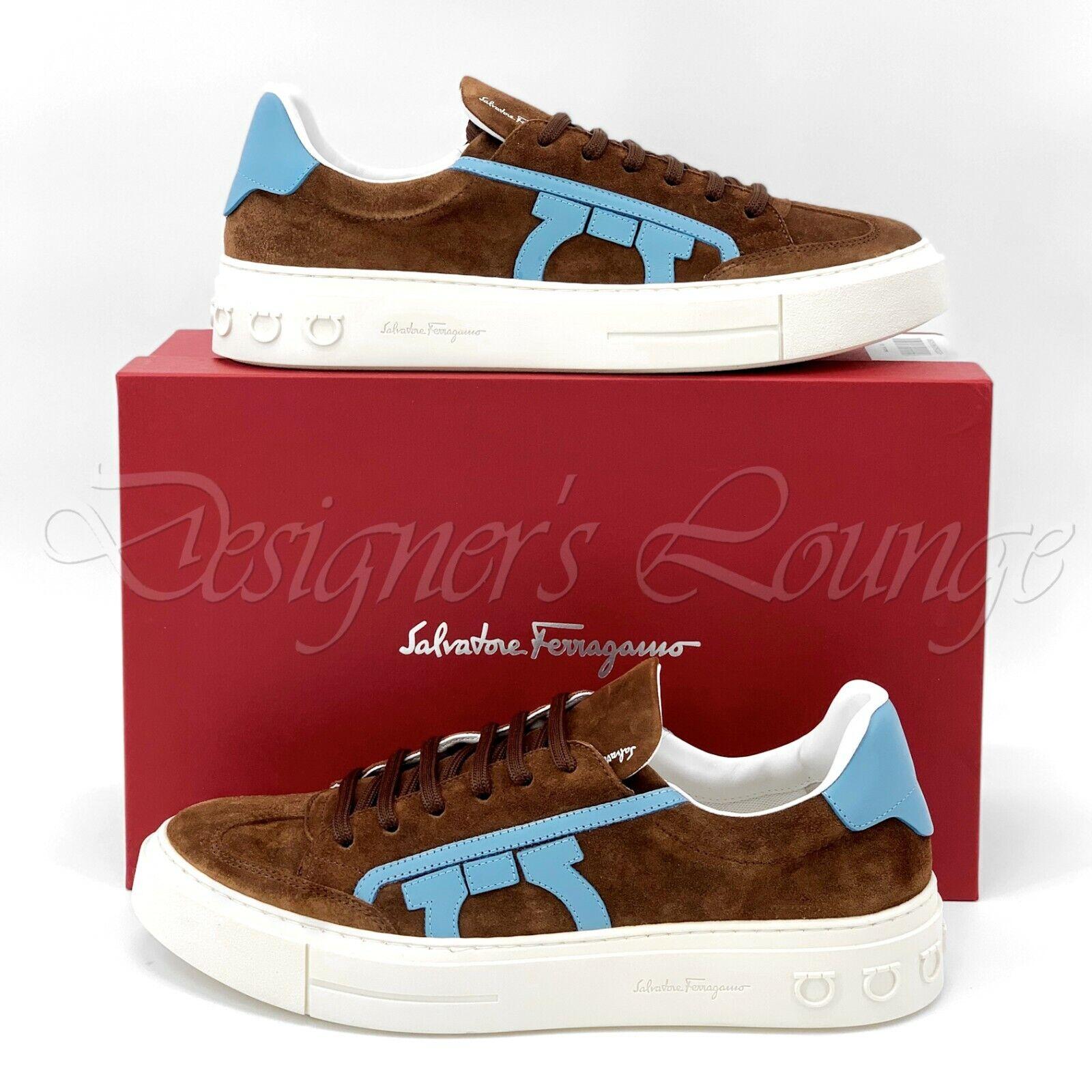 NEW SALVATORE FERRAGAMO Borg 2 Gancini US 9 Calf Suede Leather Sneakers