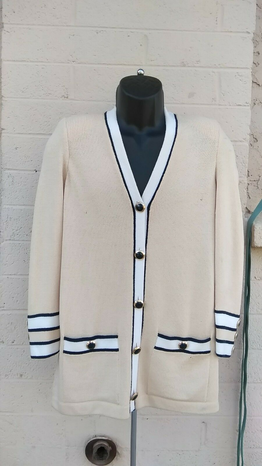 St John Santana Knit Cream Navy bluee gold Button Down Cardigan Sweater size s