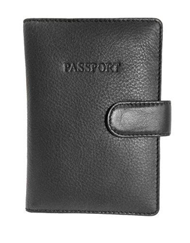 Visconti BD15 Mens Black Multi Color Passport Travel Holder ID Wallet Protector