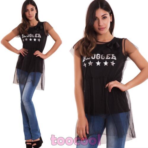 Pull Femme T-Shirt Débardeur Double Voilé Tulle Écrit Stella Neuf Wd-8288