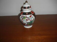 """LOVELY COLORFUL IMARI PORCELAIN COVERED JAR 6 1/4"""" HIGH EX COND."""