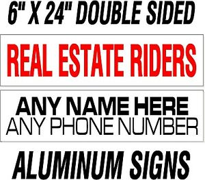 10-custom-Heavy-Duty-REAL-ESTATE-realtor-rider-signs-thick-040-034-WHITE-ALUMINUM
