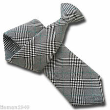 British Woven Prince of Wales Check Mens Clip On Tie Black White Green Clipper