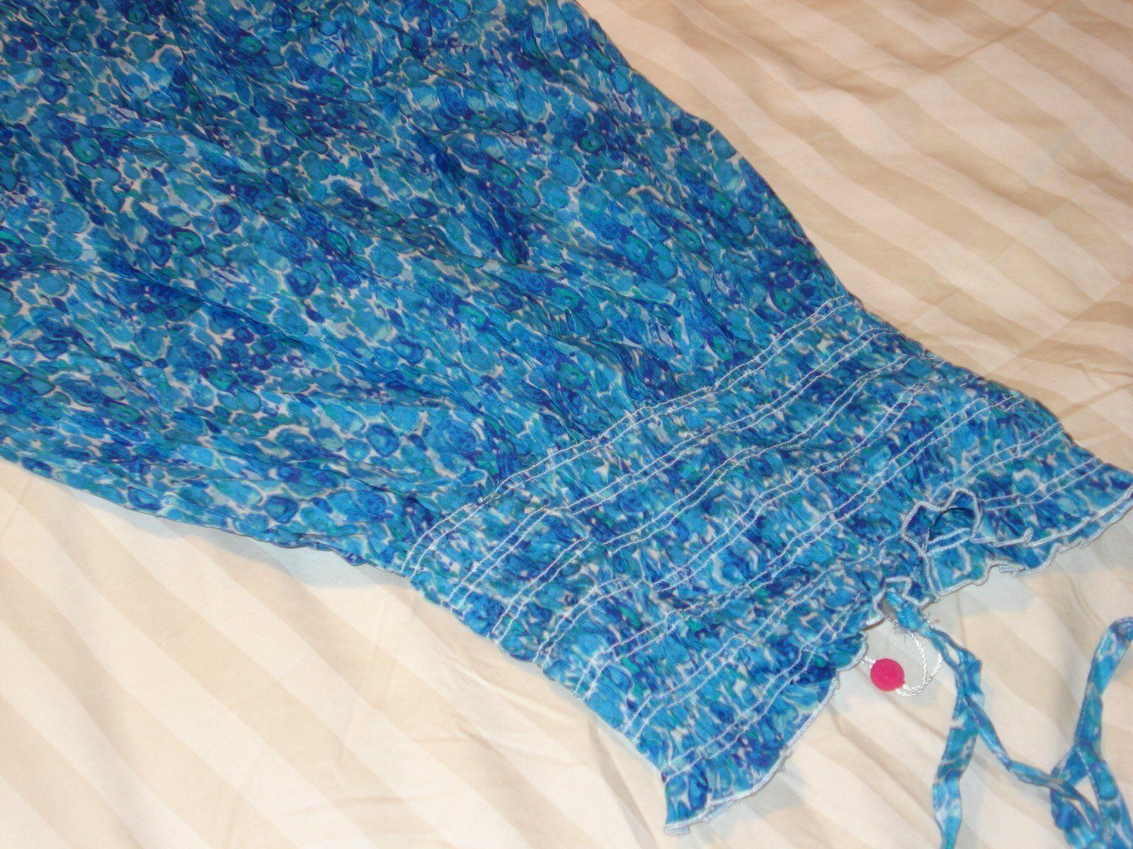 ECHO DESIGN COTTON NWT blueE PRINTED SUN DRESS BEACH COVERUP