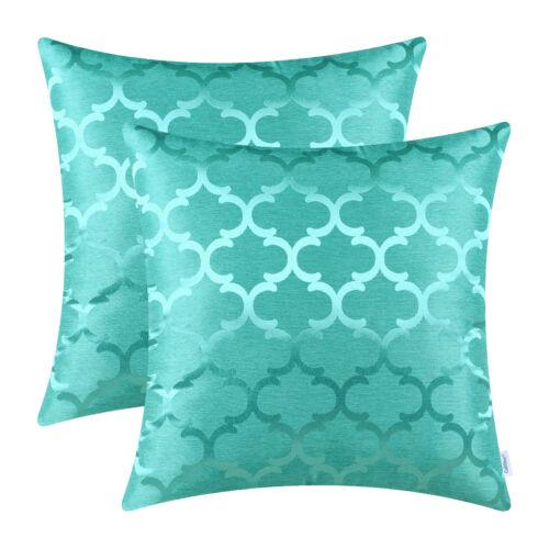 """2Pcs Couleur Turquoise Coussin Couvre Oreillers cas Accent Geometric Home Decor 18 X 18/"""""""