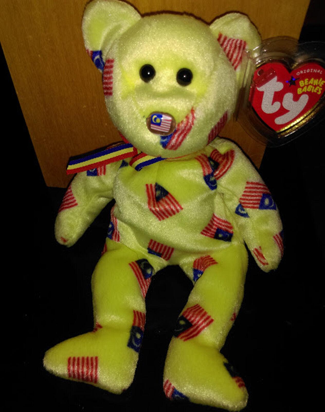 Ty Beanie Baby NEGARAKU the Malaysian Flag Nose Bear-MWMT