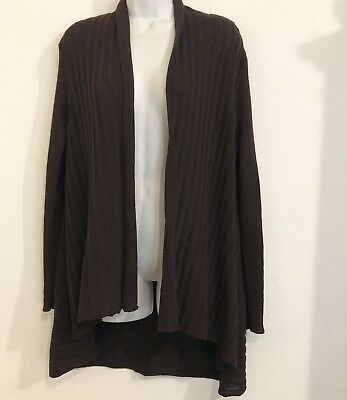Eileen Fisher Womens Size S Brown Wool Open Front Cardigan