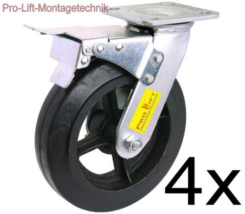 4x frenate ruote orientabili 4x 270kg capacità pesanti ruoli GOMMA pavimentazione 01555