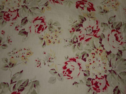 Vintage English Cottage Roses Cotton Fabric ~ Rose Eggplant Sage Yellow Gray
