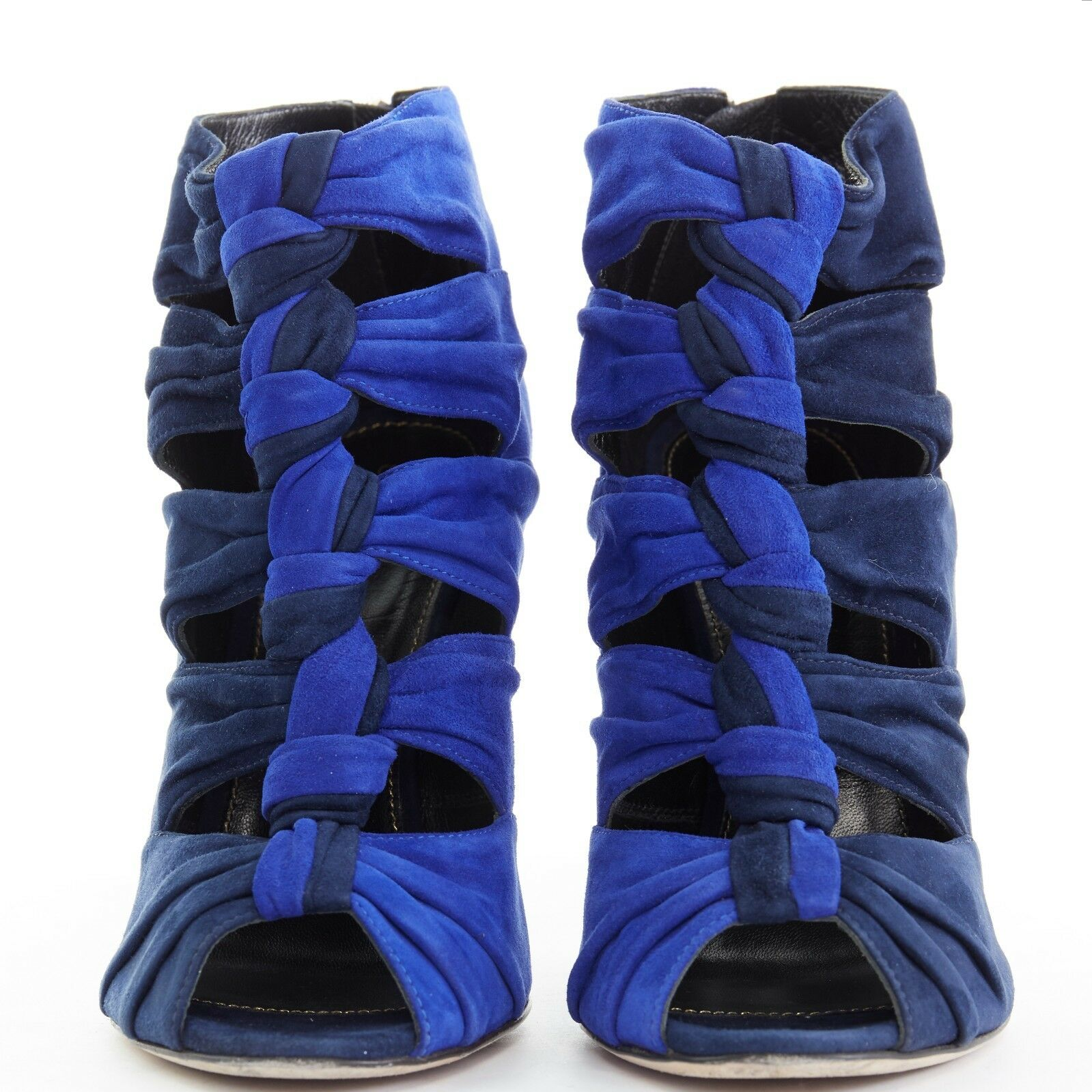 SERGIO ROSSI A76490 cobalt navy bluee suede knotted front peeptoe sandals EU39