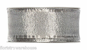 hell-silber-metallisch-Weihnachten-Stoff-Band-40mm-breit-25m-Rolle