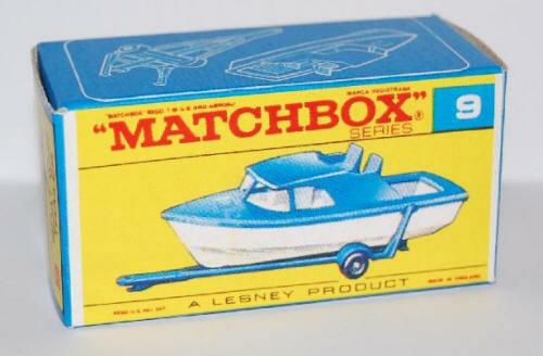 Matchbox Lesney No 9 BOAT AND TRAILER  Empty Repro Box style E