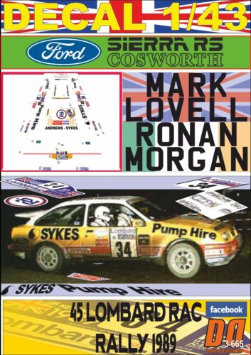 DECAL 1//43 FORD SIERRA RS COSWORTH M.LOVELL RAC R 06 1989 17th