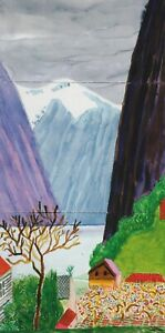 Undredal-Norway-David-Hockney-print-in-11-x-14-mount-ready-to-frame-SUPERB