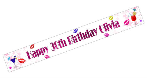 PERSONALISED BANNERS NAME AGE PHOTO BIRTHDAY cocktail mum nan 18th 20th 30th I2