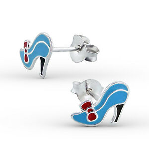 Plata esterlina 925 para niños Niños Niñas Colorido Zapato Oreja Pasador, Caja de Regalo Gratis