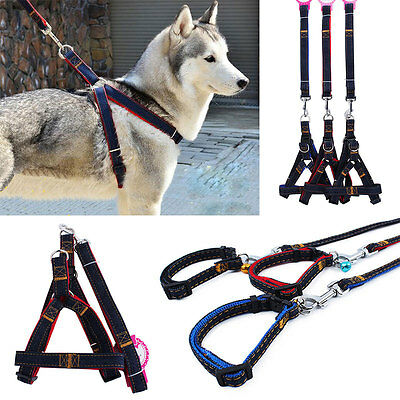 Hot Dog Pet Puppy Cat Adjustable Denim Harness With Lead Leash Traction Rope