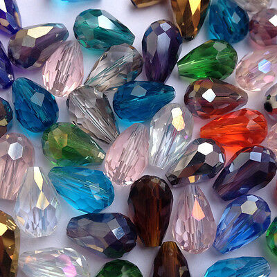 20pcs/100pcs 8x12mm Teardrop Glass Faceted Loose Crystal Spacer Beads! CHOOSE