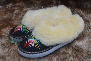 womens-ladies-natural-leather-sheepskin-slippers-moccasins-size-2-7