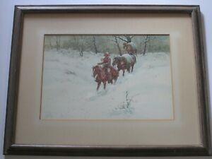 RON STEWART  ORIGINAL PAINTING  AMERICAN COWBOY WESTERN WINTER HORSES LANDSCAPE