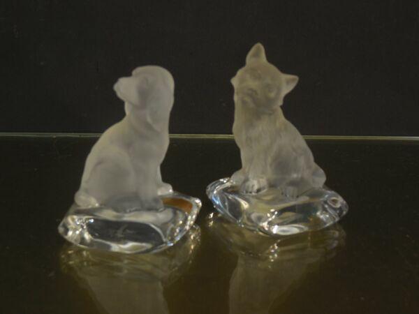 2xhund Kristall Glas Satiniert/klar Nachtmann Goebelcockerterrier Briefbeschwe