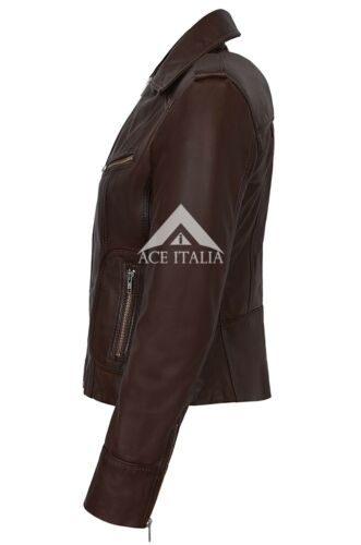 Jacket Rider Nappa Leather Real Style Soft Brown 9823 Ladies Biker Motorcycle wqf6wP