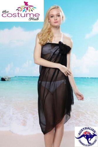 Sheer Black Sarong Beach Chiffon Cover Up Wrap Swimwear PLUS SIZE