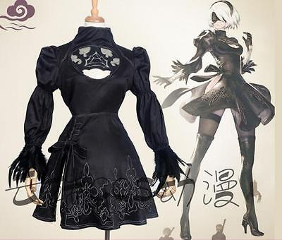New NieR:Automata 2b Dresses Black Cosplay Costume S-XL In Stock Free Shipping
