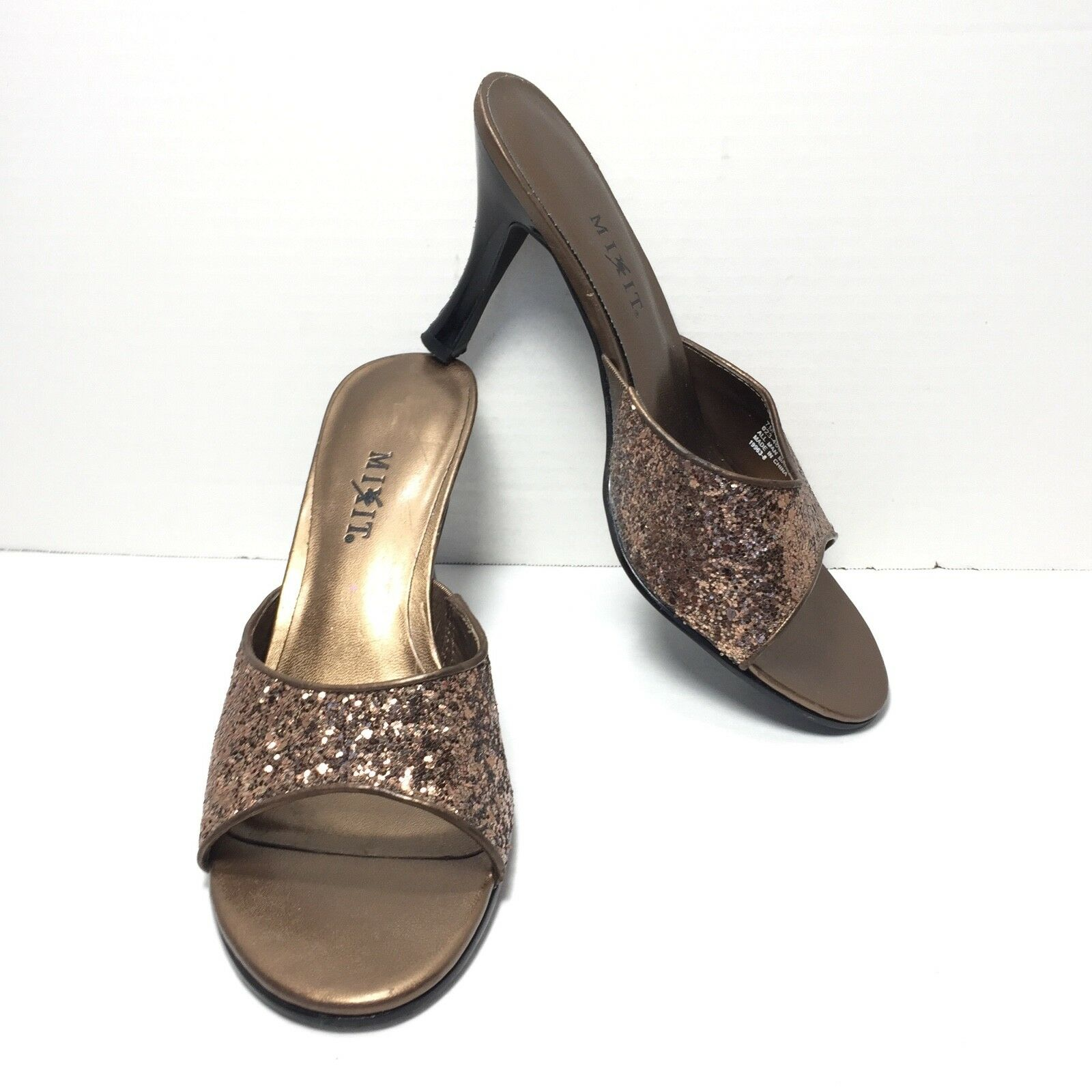 Women's Heel Mix It Brown Sparkle Kitten Heel Women's Mules Size 7 M 02d194