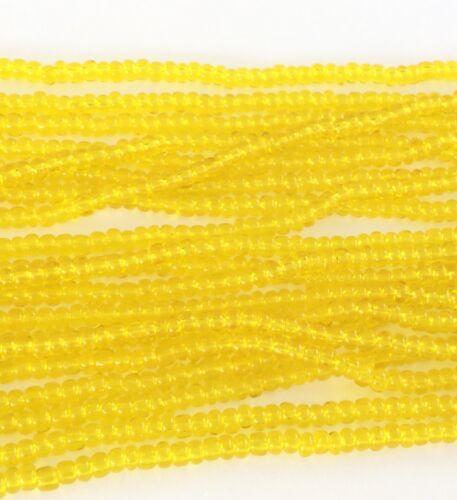 11//0 Hanks Czech Transparent Yellow Glass Seed Beads # 182