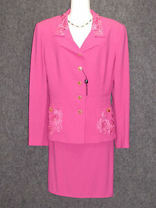 save off 1aa9b 5c939 Details about FONTANA COUTURE Pink Wool Skirt Suit 2Pc Set SZ 46 NEW