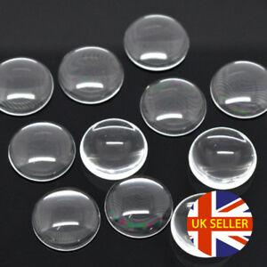 25 x Round Clear Glass Cabochons, Drop Flat Cabs, Glass Dome Cabs, Crystal Clear