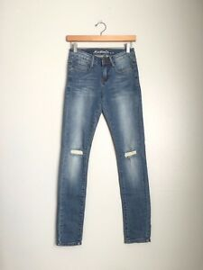 Machine-Jean-Ripped-Cut-Out-Knee-Stretchy-Ankle-Slim-Skinny-Denim-Jeans-Pants