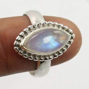 Original-RAINBOW-MOONSTONE-Gemstone-925-Sterling-Silver-Trendy-Ring-Size-US-7-75