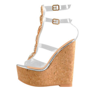Onlymaker-Women-039-s-Peep-Toe-Wedge-Heel-Rhinestone-Clear-Ankle-Strap-Party-Sandals