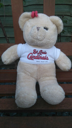 St Louis cardinals baseball promotional soft teddy bear plush 12 inches long