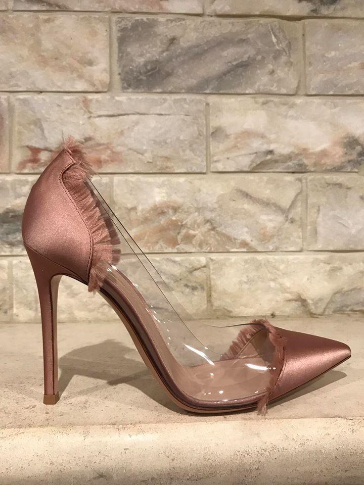 NIB Gianvito Rossi Plexi Caribe Nude Praline Plastic Clear Satin Heel Pumps 39