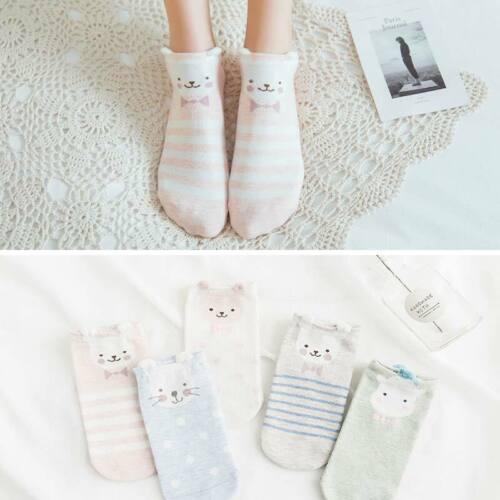 5Pairs Women Cartoon Socks Animal Printed Cotton Casual Ankle Kawaii Cute Socks