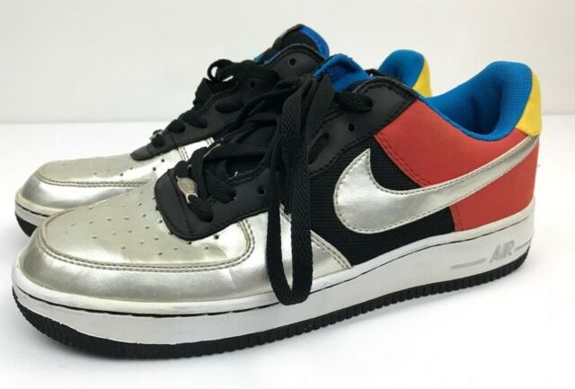 Nike Air Force 1 2004 OLYMPIC Mens Size 9.5 Low Black Silver Chile 307334 002 Sz